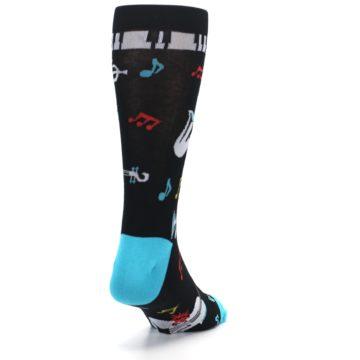 Image of Black Teal Music Instruments Men's Dress Socks (side-1-back-20)