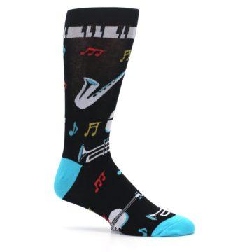 Image of Black Teal Music Instruments Men's Dress Socks (side-1-25)