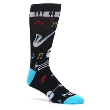Image of Black Teal Music Instruments Men's Dress Socks (side-1-26)