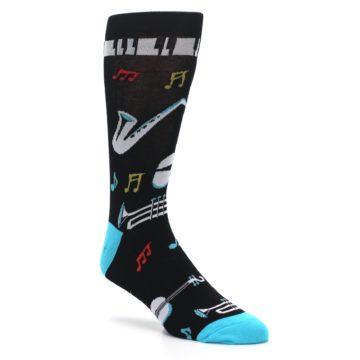 Image of Black Teal Music Instruments Men's Dress Socks (side-1-27)