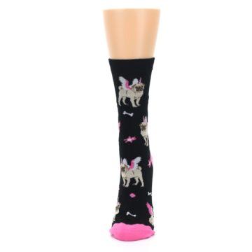 Image of Black Pink Pugasus Dog Women's Dress Sock (side-2-front-06)