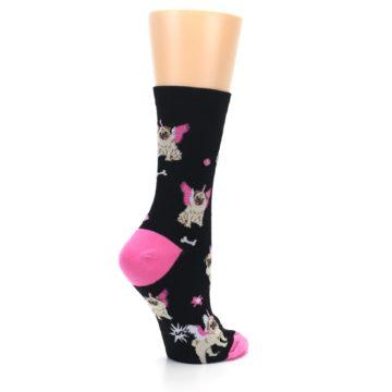 Image of Black Pink Pugasus Dog Women's Dress Sock (side-1-23)
