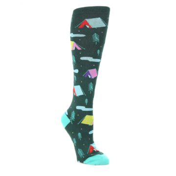 Green-Multi-Tent-Camping-Womens-Knee-High-Sock-Sock-It-To-Me