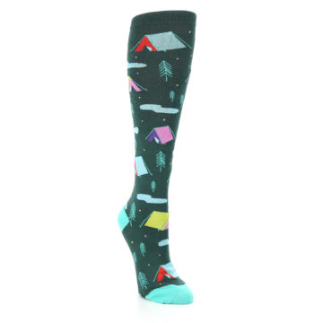 Image of Green Multi Tent Camping Women's Knee High Sock (side-1-front-02)
