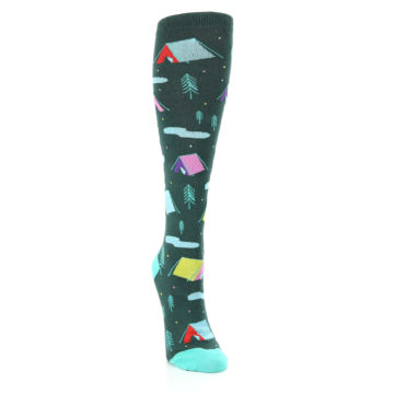 Image of Green Multi Tent Camping Women's Knee High Sock (side-1-front-03)