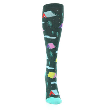 Image of Green Multi Tent Camping Women's Knee High Sock (front-04)