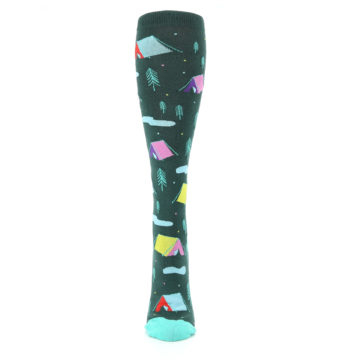 Image of Green Multi Tent Camping Women's Knee High Sock (front-05)