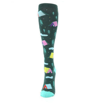 Image of Green Multi Tent Camping Women's Knee High Sock (side-2-front-06)