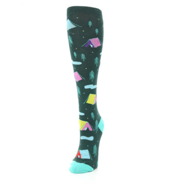 Image of Green Multi Tent Camping Women's Knee High Sock (side-2-front-07)