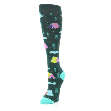 Image of Green Multi Tent Camping Women's Knee High Sock (side-2-front-08)
