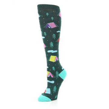 Image of Green Multi Tent Camping Women's Knee High Sock (side-2-09)