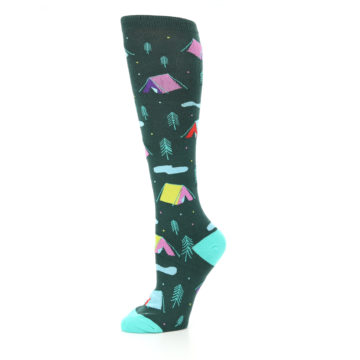 Image of Green Multi Tent Camping Women's Knee High Sock (side-2-10)