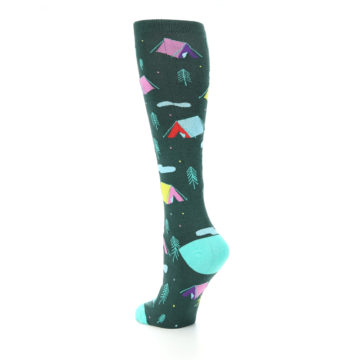 Image of Green Multi Tent Camping Women's Knee High Sock (side-2-back-15)