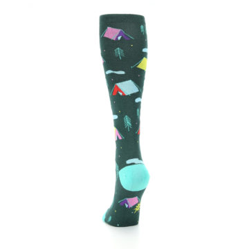 Image of Green Multi Tent Camping Women's Knee High Sock (back-17)
