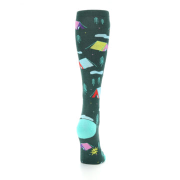 Image of Green Multi Tent Camping Women's Knee High Sock (side-1-back-20)