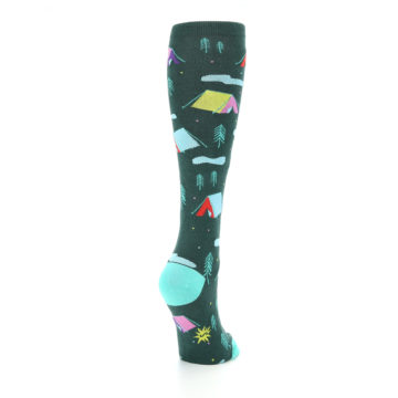 Image of Green Multi Tent Camping Women's Knee High Sock (side-1-back-21)