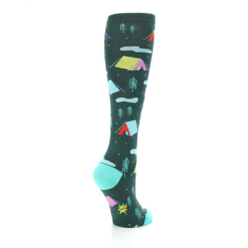 Image of Green Multi Tent Camping Women's Knee High Sock (side-1-back-22)