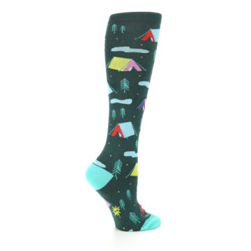 Image of Green Multi Tent Camping Women's Knee High Sock (side-1-24)