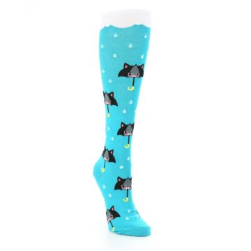 Image of Blue Black Umbrella Cats Women's Knee High Sock (side-1-front-02)