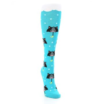 Image of Blue Black Umbrella Cats Women's Knee High Sock (side-1-front-03)