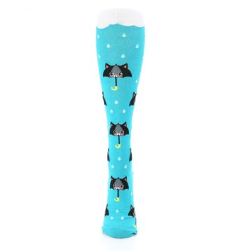 Image of Blue Black Umbrella Cats Women's Knee High Sock (front-05)