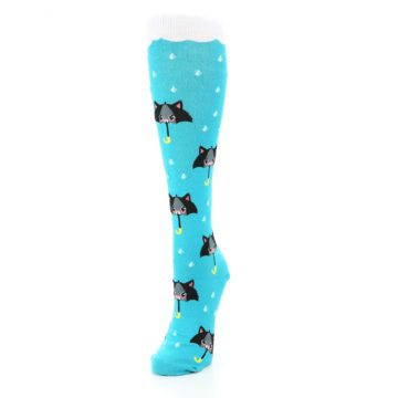 Image of Blue Black Umbrella Cats Women's Knee High Sock (side-2-front-07)