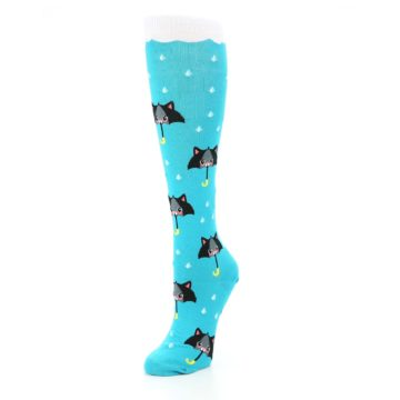 Image of Blue Black Umbrella Cats Women's Knee High Sock (side-2-front-08)