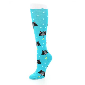 Image of Blue Black Umbrella Cats Women's Knee High Sock (side-2-09)