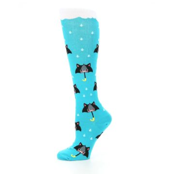 Image of Blue Black Umbrella Cats Women's Knee High Sock (side-2-11)