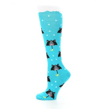 Image of Blue Black Umbrella Cats Women's Knee High Sock (side-2-12)