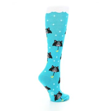 Image of Blue Black Umbrella Cats Women's Knee High Sock (side-1-23)