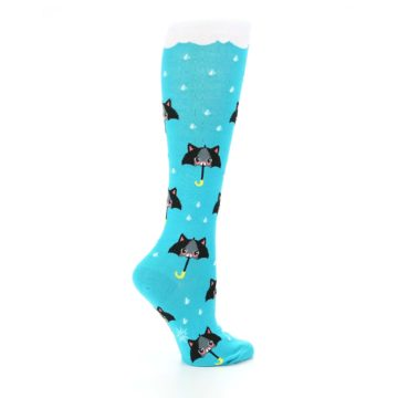 Image of Blue Black Umbrella Cats Women's Knee High Sock (side-1-24)