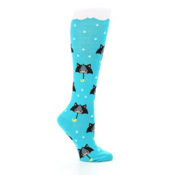 Image of Blue Black Umbrella Cats Women's Knee High Sock (side-1-25)