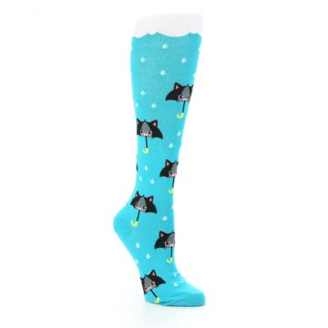 Image of Blue Black Umbrella Cats Women's Knee High Sock (side-1-27)