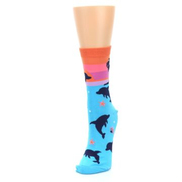 Image of Blue Orange Sunset Dolphins Women's Dress Sock (side-2-front-07)