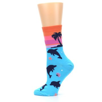 Image of Blue Orange Sunset Dolphins Women's Dress Sock (side-2-12)