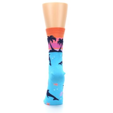 Image of Blue Orange Sunset Dolphins Women's Dress Sock (back-18)