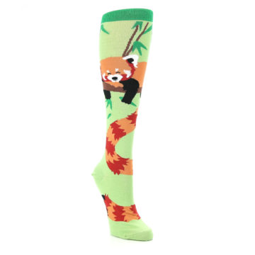 Image of Green Red Panda Women's Knee High Sock (side-1-front-02)