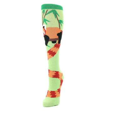 Image of Green Red Panda Women's Knee High Sock (side-2-front-07)