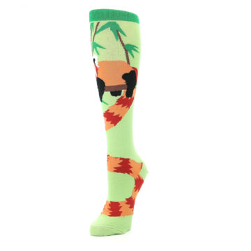 Image of Green Red Panda Women's Knee High Sock (side-2-front-08)