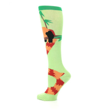 Image of Green Red Panda Women's Knee High Sock (side-2-13)