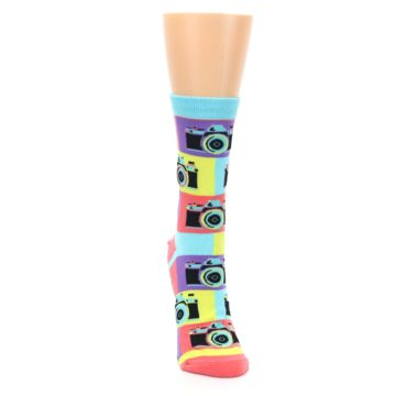 Image of Multi-color Pastel Retro Camera Women's Dress Sock (front-04)