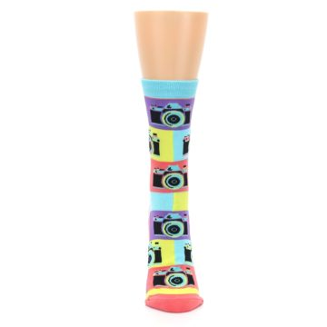 Image of Multi-color Pastel Retro Camera Women's Dress Sock (front-05)