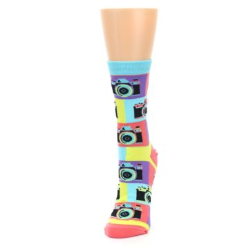 Image of Multi-color Pastel Retro Camera Women's Dress Sock (side-2-front-07)
