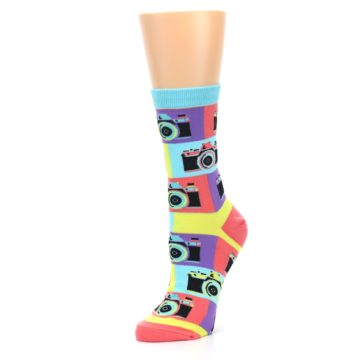 Image of Multi-color Pastel Retro Camera Women's Dress Sock (side-2-09)