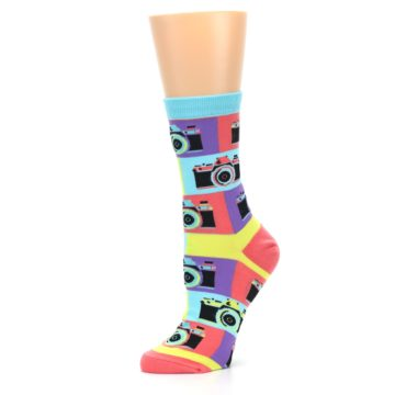 Image of Multi-color Pastel Retro Camera Women's Dress Sock (side-2-10)