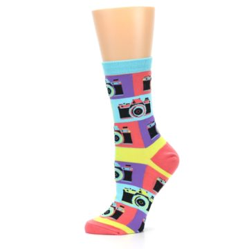 Image of Multi-color Pastel Retro Camera Women's Dress Sock (side-2-11)
