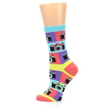 Image of Multi-color Pastel Retro Camera Women's Dress Sock (side-2-12)