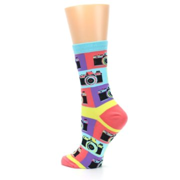 Image of Multi-color Pastel Retro Camera Women's Dress Sock (side-2-back-14)