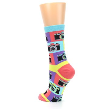 Image of Multi-color Pastel Retro Camera Women's Dress Sock (side-2-back-15)